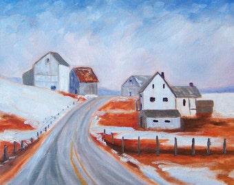 Winter Landscape Oil Painting, Canvas, 9x12, Blue, Brown, Farm House, Country Road, Barn, Wall Decor, Original Snow Scene, Orange, Gray Sky