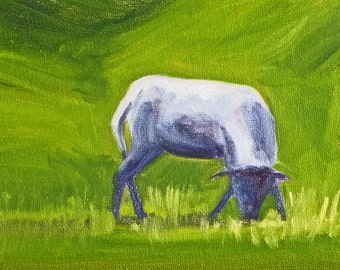 Original Baby Sheep Painting, Small Oil, 5x7 Canvas, Little Lamb, Blue Green, Farm Creature, Country Wall Decor, Rural Animal Art