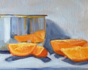 Still Life Oil Painting, Citrus Fruit, Stretched Canvas, Tangerine Orange, Chrome, Original  Kitchen Decor, Blue, 8x10, Wall Decor