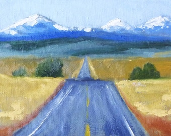 Small Landscape Oil Painting, Canvas, Oregon Mountains, Road, Blue, Brown, Small 5x7, Original, Rural Travel Art, Wall Decor