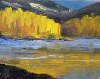 Landscape Oil Painting, Small Abstract Original, Autumn River Trees, 4x6 Miniature Canvas, Wall Decor, Yellow and Blue, Tiny Art