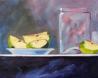 Still Life Oil Painting, Original Fruit on Canvas, Green Apples, Glass, 9x12, Purple, Blue, Kitchen Art, Wall Decor