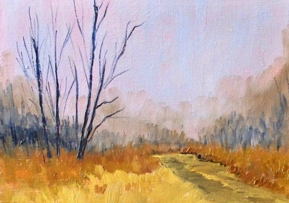Landscape Oil Painting, Original Autumn Road, Small, 5x7, Gold, Purple, Trees, Field, Country, Fog