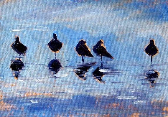 Sea Birds Original Seascape Oil Painting 5x7