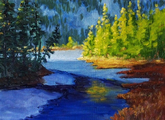 Landscape Painting Small Winter River Oil Painting Evergreen