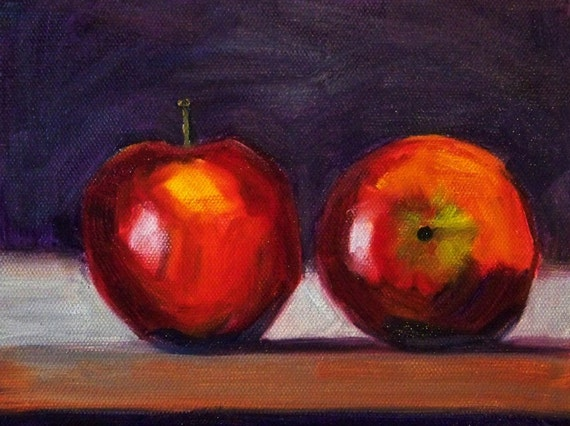 Still Life Fruit Painting, Original Apple Art, Small 6x8 Canvas, Wall Decor, Kitchen Art, Red, Oil Painting, Red Vegan Food, Vegetarian