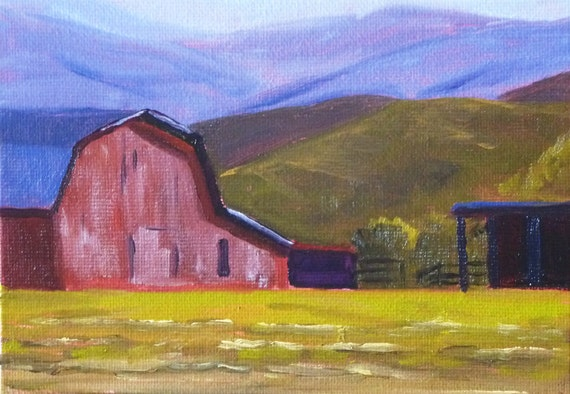 Barn Painting, Original Oil, Small Landscape, 5x7on Canvas, Red Barn, Country, Western Ranch Scene, Wall Decor