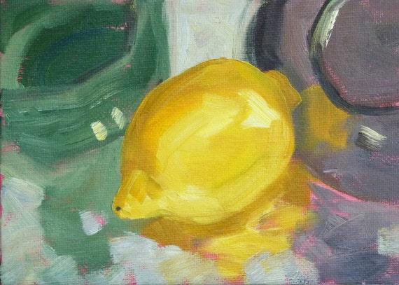 Oil Painting, Still Life Fruit, Lemon, Original on Canvas, 5x7, Citrus, Small, Kitchen Art, Yellow, Decor