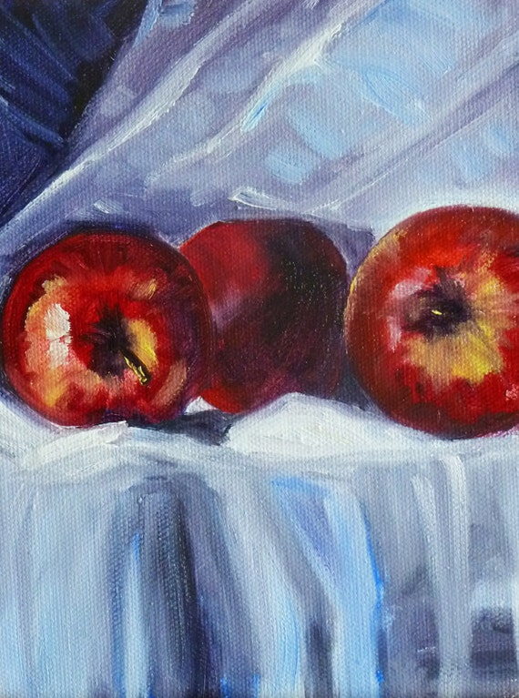 Fruit Still Life, Original Apple Oil Painting, Gallery Canvas, 6x8, Wall Decor, White Table Cloth, Kitchen Art, Wall Decor