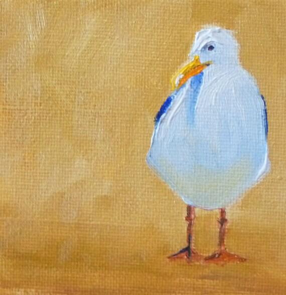 Small, Bird Painting, Seagull, Original Oil, Canvas, Bird, Blue, Gold, White, 4x4, Beach, Miniature