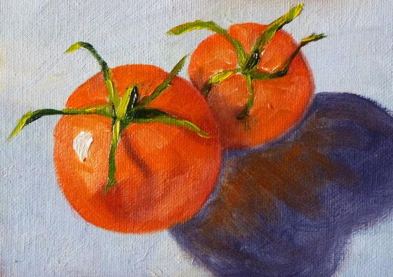 Still Life Oil Painting, Original Tomatoes on Canvas, Red, Blue, Fruit, Vegetable, Small, 5x7, Kitchen Art, Kitchen Decor