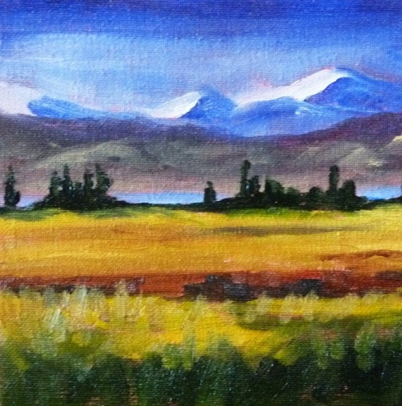 Small Landscape, Oil Painting, Original, Mountain, Field, Trees, Blue, Gold, Purple, 6x6, Canvas