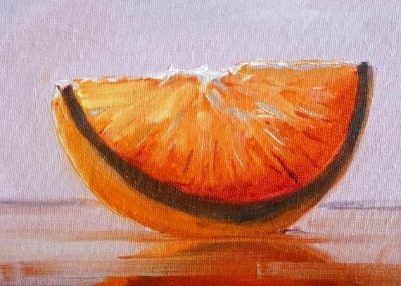Small Fruit Oil Painting, Still Life Original, Canvas 5x7, Orange, Tangerine, Tropical Fruit, Kitchen Art, Kitchen Decor, Wall Decor
