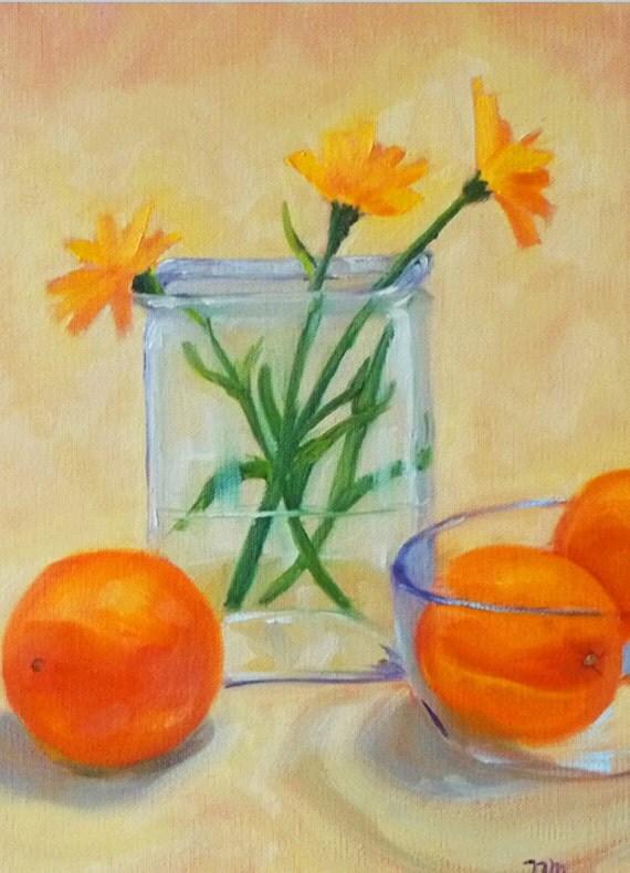 Still Life, Oil Painting, Original, Orange, Yellow, Blue, Sunflowers, Fruit, Glass, 9x12, Gallery Canvas, Kitchen Art, Kitchen Decor