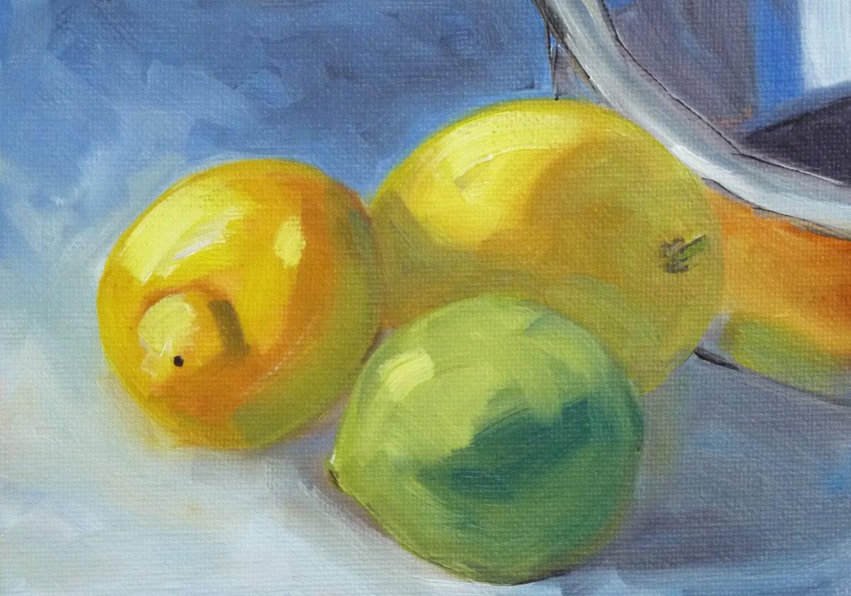 Lemon And Lime Kitchen Decor Lemon Lime Small Still Life Oil Painting Green Yellow