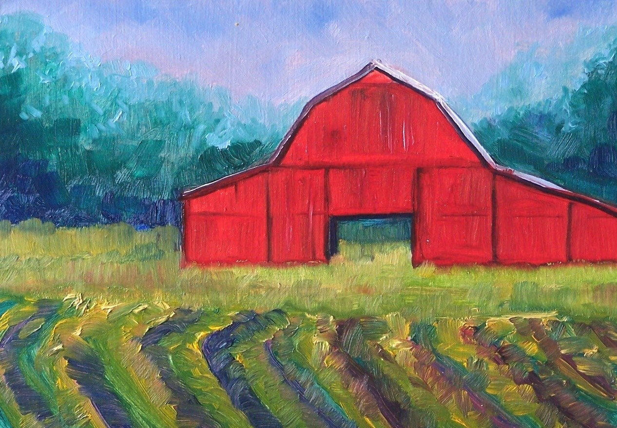 Original Oil Painting Red Barn Landscape Small 5x7