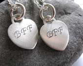 TWO necklaces sterling heart BFF
