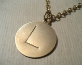 Hand stamped Jewelry Super cool gold initial disc necklace