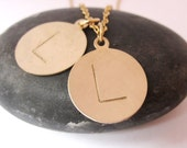 TWO disc gold initial necklace