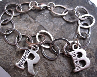Mommy bracelet TWO letters Hand stamped jewelry initial charm bracelet
