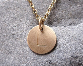 Hand stamped jewelry gold initial disc personalized necklace