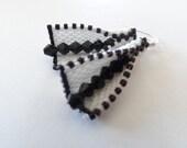 CUSTOM ORDER-Zipity Split Black and White earrings