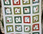 Modern Baby Quilt -- Wonky Squares in Zoo Animals