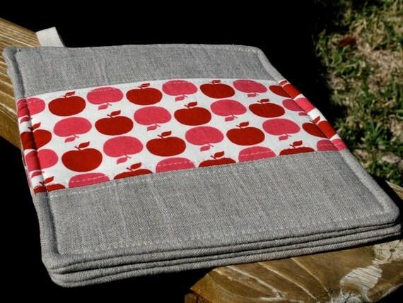 Pot Holder Set of 2 -- Red Apples and Linen Patchwork