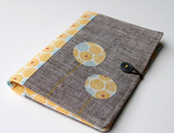 Notepad Holder Organizer, List Taker --Yellow and Blue Medallions and Linen in Brown