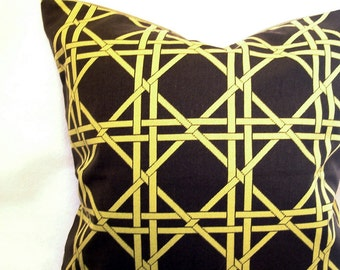 brown and lime green modern pillow sham