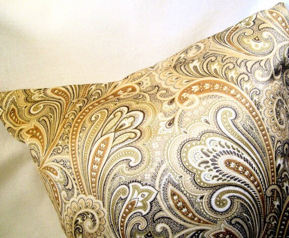 Gold Silk Paisley Swirl Pillow Sham