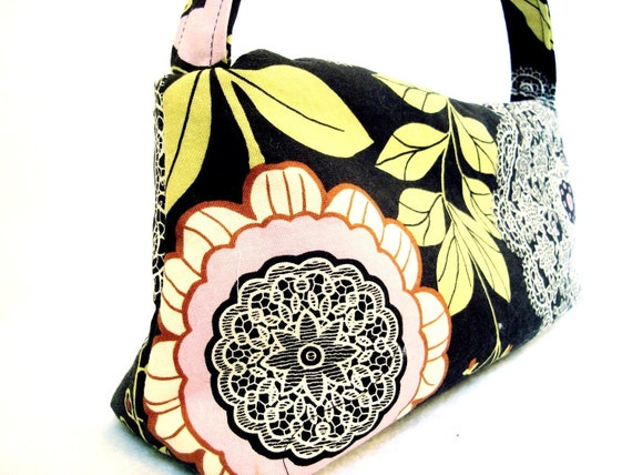 Carrie Everyday Purse in Amy Butler Lotus Lacework Brown and Pink