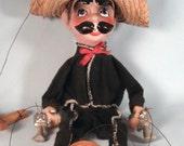 Vintage Mexican Bandit Marionette - Straw Hat - Pistols