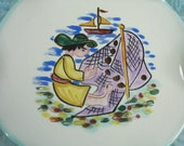 """Vintage Fisherman Plate -  French Handpainted Plate - Man with Fishing Net  - 8"""""""