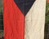 "Czechoslovakia Flag Vintage Lg Wool Yacht  Flag  Red White Blue - 1920 30s - 30"" x 48 """