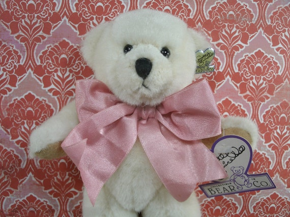"SALE.... White Teddy Bear  Mary Lou 9"" Annette Funicello Collectible Bear Co.  COA  Signature Pin - Was 16.00 Now 10.00"