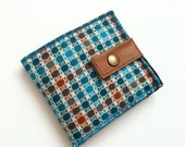 Wool Wallet - Teal pattern with reclaimed leather strap