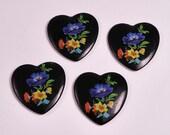 x4 Large Vintage 40mm Floral Black Heart Charms