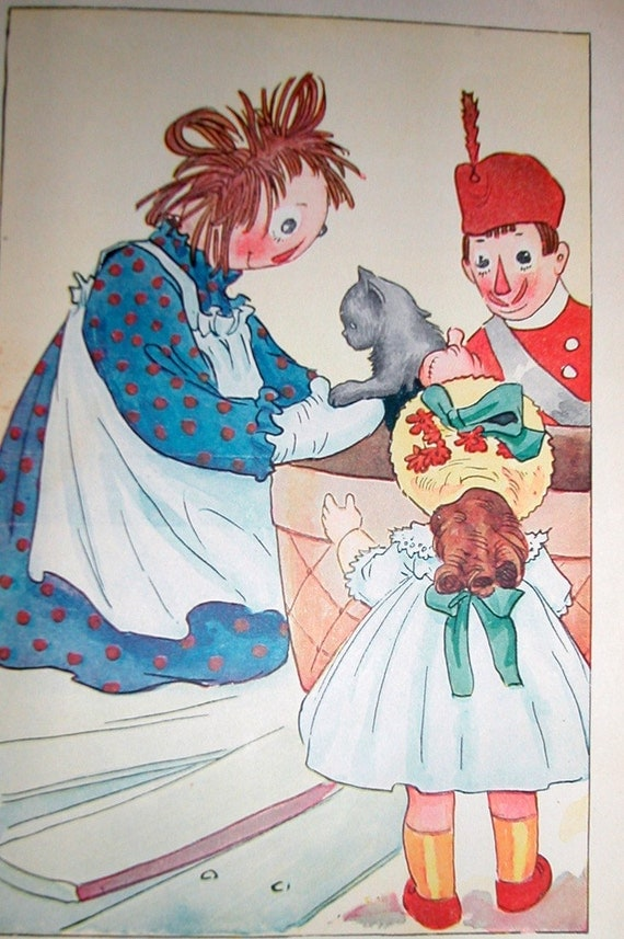 color print, vintage, raggedy ann, art, story book, illustration