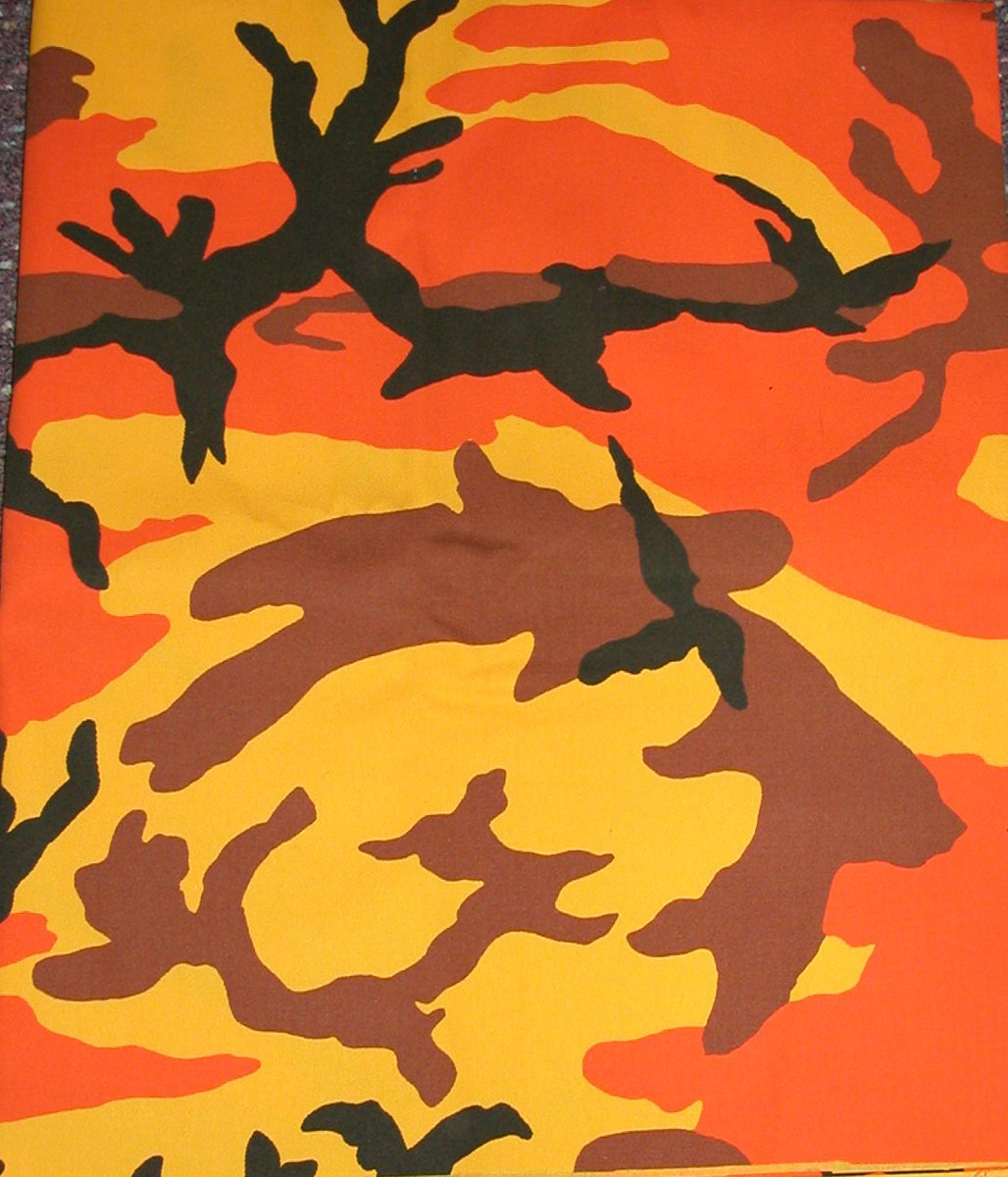 One Yard Of Bright Orange Camo Print Canvas Fabric 60 Inches