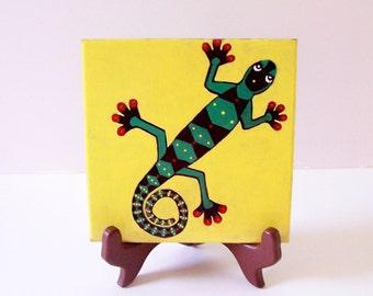 Handpainted Gecko Tile