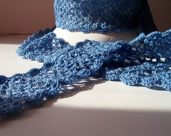 Blue Crocheted Skinny Scarf for Spring