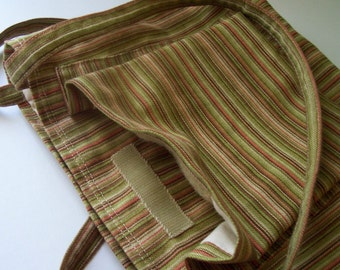 Medium Size Striped Spring Cotton Tote Bag Lined with Velcro Closure