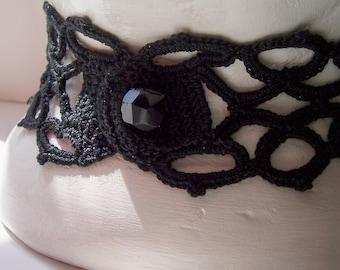 Black Crochet Choker with vintage button