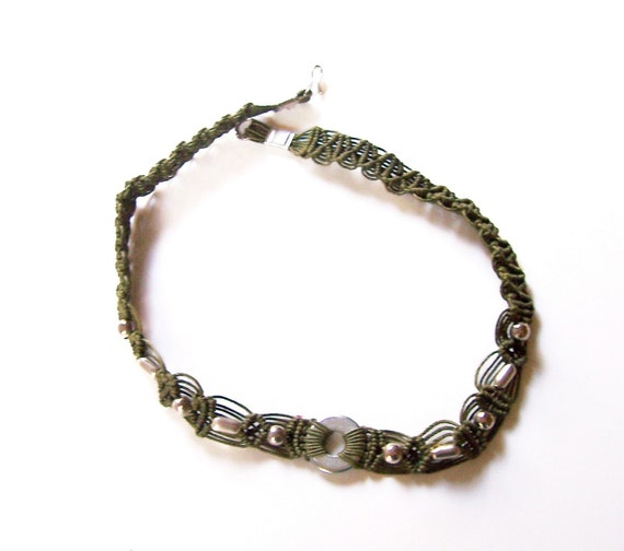 Green and Silver Macrame Choker Necklace
