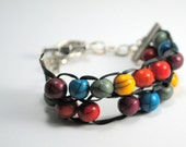 Row Counting Bracelet, knitting abacus in Rainbow colors