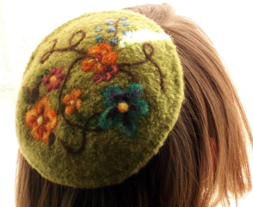 Kippah Knitting Pattern : Needle Felted Kippah PATTERN