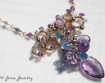 JUMA Jewelry -Royal Crown Necklace- Amethyst, Swiss Blue Topaz and Peacock Freshwater Pearls
