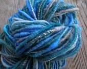 Blues handspun corespun yarn (45 yards, 2.4 oz, bulky)