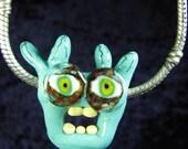 Lampwork Glass Pendant Dreadlock Kids Turquoise SRA